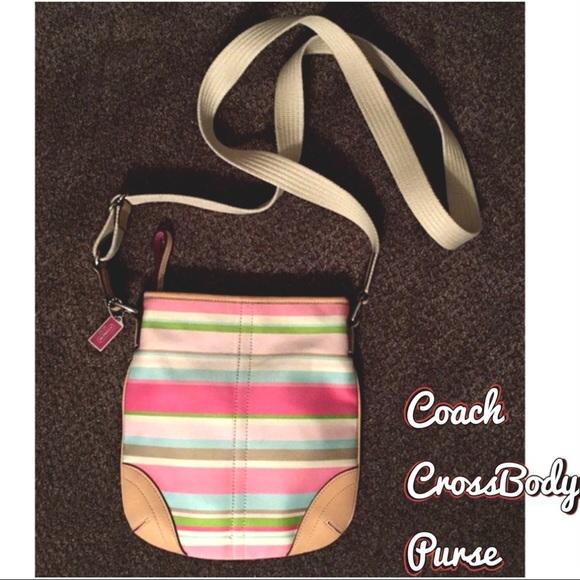 Coach Handbags - Coach Stripe CrossBody Purse Pink Tan Handbag